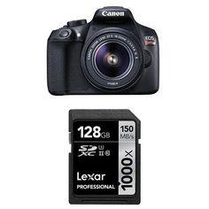 Canon EOS Rebel T6 Digital SLR Camera Kit with EF S 18 55mm Lexar 128GB Memory Card