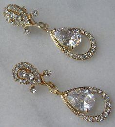 No. 1 Jenny Packham Designer gold pave teardrop earrings- at ...