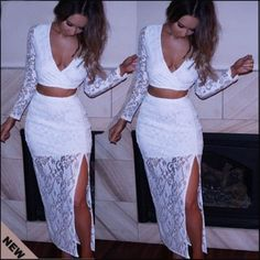 Sexy V Neck Long Sleeves Side Split White Lace Two-piece Ankle Length Dress