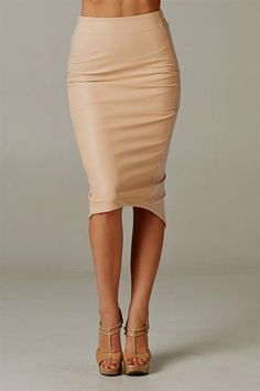 Tan Leather Pencil Skirt