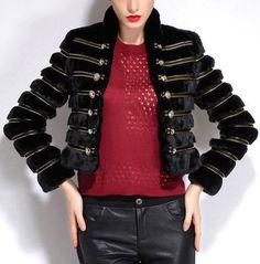 Black Embellished Fur Jacket