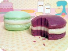 French Macaroon Soap. Apple Almond and Strawberry Vanilla Scent. #soap, #macaroon #noveltysoap