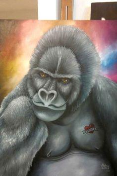 #gorila #painting #tattoo #pintura #oiloncanvas #oleosobretela #flavialima #monkey
