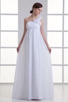 Chiffon One Shoulder Empire Flower Beach Wedding Dress