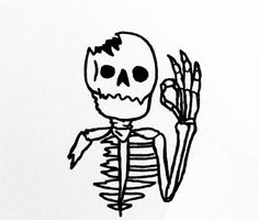 Skeleton Drawings, Skeleton Art, Easy Drawings, Tattoo Drawings, Mini Tattoos, Body Art Tattoos, Small Tattoos, Aesthetic Tattoo, Tattoo Designs