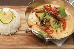 Tiger Prawns Thai green curry style with coconut cream, fresh coriander & lemongrass infused rice