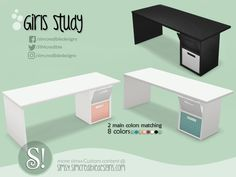 Girls Studio desk by SIMcredible! Resource Furniture, Sims 4 Cc Furniture, Sims 4 Tsr, Sims Cc, Sims 4 Mods Clothes, Sims 4 Clothing, Sims 4 Traits, Muebles Sims 4 Cc, The Sims 4 Packs