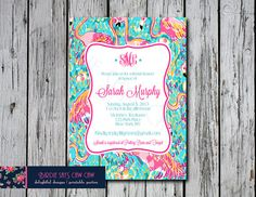SALE* Lilly Pulitzer Peel and Eat Flamingo Invitation (Graduation, Bridal shower, Baby Shower, Birthday, Sweet sixteen, bachelorette)