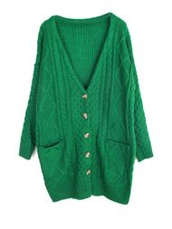 Long Length Solid V Neck Cardigan For Woman