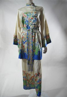 1930's Art Deco Three-Piece Printed Natural Silk Boudoir / Lounging Ensemble from Marzilli Vintage Exclusively on Ruby Lane