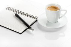 Check out black coffee and open note book by LiliGraphie on Creative Market