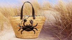 Crabby raffia Tote- Perfect for your shore excursions or staying at home imagining a fabulous beach vacation.