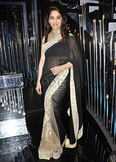 #MadhuriDixit in Black #Designer #Saree