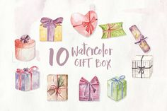 10 Watercolor Gift Box Illustration Graphics by IanMikraz on Envato Elements Gift Wrapping Services, Painting & Drawing, Presents, Clip Art, Graphics, Illustrations, Watercolor, Drawings, Box