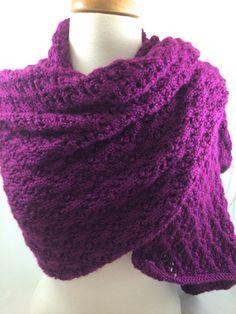 Wrap Shawl Fuchsia Hand knit Lacey Pink Purple Caron Simply Soft Yarn