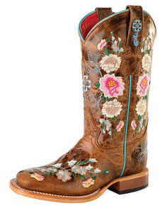 Macie Bean delivers quality boots that you can fall in love with. These girls western boots feature honey bunch leather, floral embroidered pattern, and a leath Girls Western Boots, Cowgirl Boots, Little Cowgirl, Cowboy Girl, Macie Bean Boots, Anderson Bean Boots, Horse Backpack, Leather Hats, Square Toe Boots