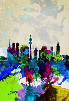Munich Watercolor Skyline - oder das?