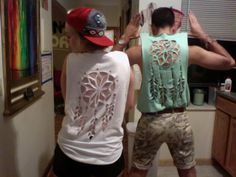 Homemade DIY Dreamcatcher tank tops, made from XL t-shirts found at a Goodwill. Stencils done freehand!