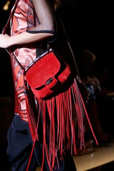 Gucci Red fringe cross body