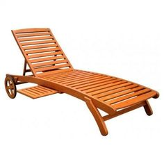 ICI Royal Tahiti Outdoor Wood Chaise Lounge with Wheels