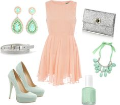 Ideal wedding guest attire. peach/mint/silver color combo