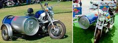"The ""Red Bull"" R120 BMW Motorcycle with an energy drink can-like sidecar: it comes complete with a cooler, of course!"