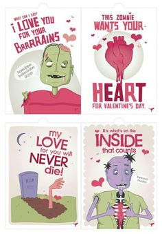 free zombie valentines day cards