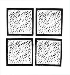 Linocut - Rain Study I by CrossStreetPress
