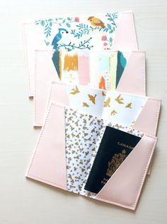 Pink passport holder, passport case, vinyl passport holder with cotton liner, faux leather passport holder