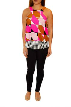 Bold printed Mia Top by Alice & Trixie.  The black & white hem is removable!