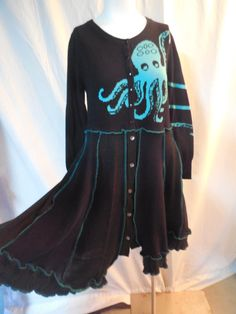Octopus Sweater upcycled Refashioned by cbcreativeoutlet on Etsy