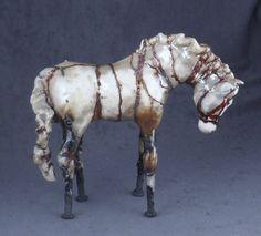 White Copper Striped Raku Horse
