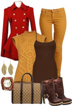 """""""Red Gold Brown"""" by juanamarie on Polyvore"""