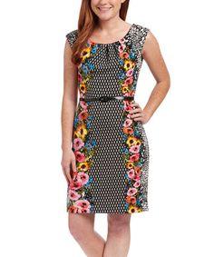 Another great find on #zulily! Black Floral Sheath Dress #zulilyfinds