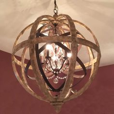 Large Round Wooden Orb Chandelier with Metal Orb Detail and Crystal Droplets Stunning centrepiece lighting chandelier for your home from Cowshed Interiors Farmhouse Chandelier, Globe Chandelier, Chandelier Ideas, Globe Pendant, Pendant Lamp, Foyer Lighting, Bedroom Lighting, Basement Lighting, Furniture