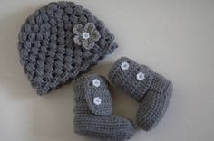 Matching gray hat and booties