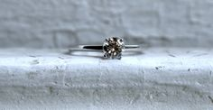 Classic Vintage 14K White Gold Diamond Solitaire by GoldAdore