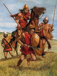 Equestrian Geitar Macedonian Hoplites Front And Back Row
