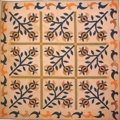 Pomegranate Applique Quilt, 1860. Williamsburg, Virginia.
