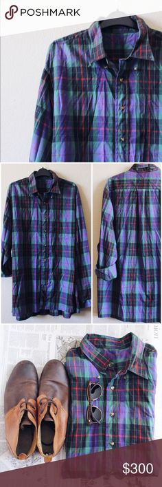 "Vintage Navy blue & green plaid soft button up Great condition || multi color blue color scheme goes great with anything || year round style || this has been worn but very well taken care of || soft lightweight fabric & vintage style creates character & intentional ""broken in"" look 