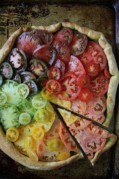 Heirloom Tomato Pizza. This is beautiful. I might bake the tomatoes though. Could also use ricotta.