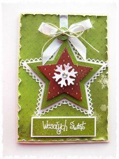 Zielona kartka świąteczna z gwiazdką