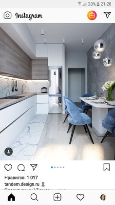 marble blue small kitchen ideas condo russian home interior design style white a. - marble blue small kitchen ideas condo russian home interior design style white and wood cabinets gl - Kitchen Room Design, Condo Kitchen, Kitchen Cabinet Colors, Modern Kitchen Design, Home Decor Kitchen, Interior Design Kitchen, Home Kitchens, Kitchen Ideas, Kitchen Soffit