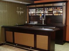 circle counter 31 Hassle Free Home Bar Ideas Home Bar Counter, Custom Home Bars, Den Ideas, Man Cave Bar, Beer Bar, House In The Woods, Custom Wood, Backsplash, Liquor Cabinet