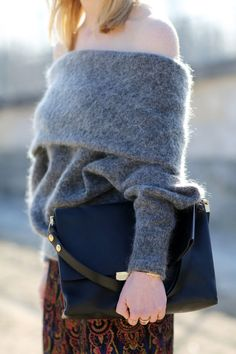 Off the shoulder knits in brushed textures on the streets of Paris WGSN Street Style Shot