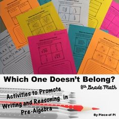 8th Grade Pre Algebra: Which One Doesn't Belong? Students will choose which item…
