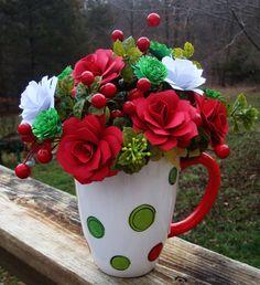 Christmas Paper Flower Beautiful Arrangement  by SweetPeasFlorals, $25.00