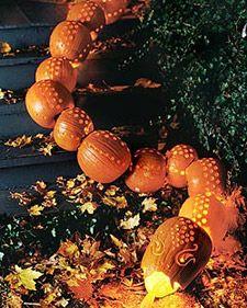 Build a pumpkin snake, with help from Martha Stewart.