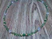 Hand crafted Emerald,peridot,crystal quartz,gold plated necklace