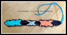 Custom ordered headband turquoise/coral